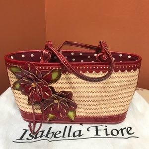 Isabella Fiore Straw And Leather Flowered Bag